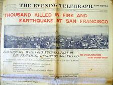 4-18-1906 display newspaper 1st day SAN FRANCISCO EARTHQUAKE Disaster CALIFORNIA