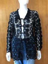 Lim'S Vintage Hand Crochet Jacket With Mandarin Button, One Size Black