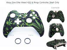 Xbox One Elite 420 Weed Kush Ganja Mary Jane Black Rings Front Shell Unique Mod