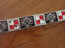 Ladies Angel Ranch Leather Rhinestone Faux Ruby & Diamond Western Belt Sm Nwt!