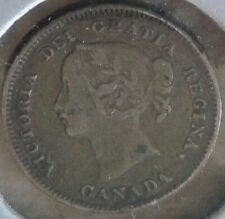 Silver canada- 5 CENTS --1900-- F12 grade