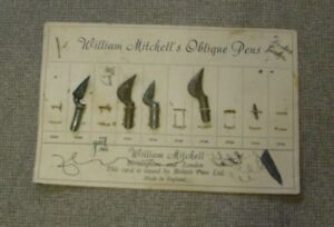 Oblique Pens on card backing 4 total vintage William Mitchell's Oblique Pens