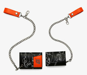 Naruto Shippuden Wallet Line Art Chain Wallet Faux Leather Tri-Fold