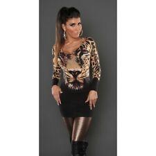 Maglione donna pullover maglioncino lungo vestitino in maglia leopardata sexy