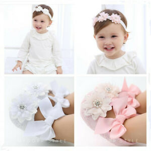 Newborn Baby Girls Princess Pram Shoes Infant Birthday Party Hair Headband Set