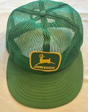 Vintage JOHN DEERE Farm Ag Patch Green Mesh Trucker Cap Snapback Hat NICE!