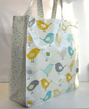 Dee's Handmade Quality Oilcloth Shopping Tote bag - Scandi Birds/spot