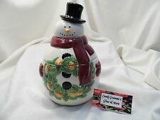 Mrs. Fields Limited Edition Holiday Snowman With Wreath Cookie Jar