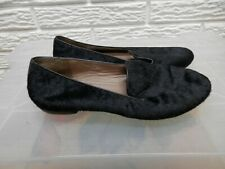 ECCO Black Leather Pony Hair Loafer Shoes Size 36