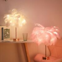 Feather 96LED Table Lamp Shades Lampshade Remote Control Bedside Desk Nightlight