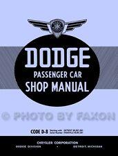 1938 Dodge Car Shop Manual 38 D8 Repair and Service Book includes wiring diagram