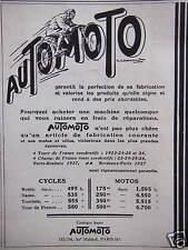 PUBLICITÉ 1920 AUTOMOTO CYCLES ET MOTOS GARANTIT LA PERFECTION DE SA FABRICATION