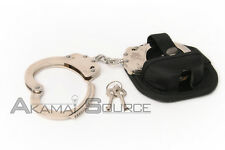 CHAINED SILVER Steel Double Lock Handcuffs Police Cuffs Personal Safety Tools