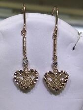 Heart Diamond Cut Style Dangle earring. 18K solid Trio Color Gold Cute 3D