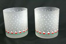 """FROSTED White Snow Red Green Cabins CHRISTMAS 3.5"""" Old Fashioned GLASSES 12 oz"""
