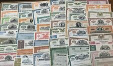 Mixed Lot of 50 Different Stock Certificates and Bonds, Various Industries
