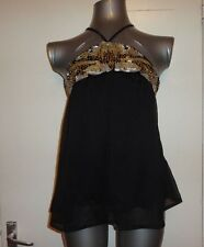 RIVER ISLAND, SIZE 8, EUR 34, BLACK & GOLD HALTER-NECK TOP, BNWT, RRP £39.99