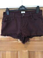 Denim Short Shorts Distressed Frayed Hem Plum Size 12 W31/32 L10 By River Island