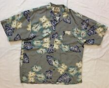 Men's Size Large Tommy Bahama 100% Silk Green Blue Hawaiian Shirt