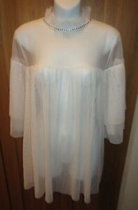 $68 Retail Sheer Ivory Tulle/Pleated VICTORIA'S SECRET Sleep Shirt/Tunic Top NWT