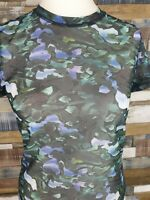 & Other Stories Sheer Mesh Green Floral Tee T Shirt Top EU 40 M US 8 Festival