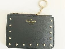NWT Kate Spade Bitsy Gold Tone Studded Leather Wallet Coin Purse Key Ring NWT