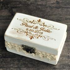 Personalize Wedding Ring Holder, Custom Ring Box, Rustic Wedding Ring Bearer Box