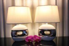 2 Lampen weiß silber Nachttischlampen Tischleuchte Tischlampe Keramik Leuchte