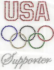 Sports USA Olympic Supporter Iron On Hot Fix Rhinestone Design Transfer Motif