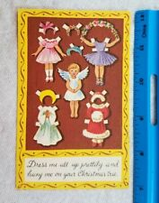 New ListingVintge Cute 1962 Brownie Paper Doll Christmas Greeting Card Dolls