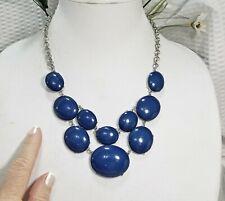 Dark Blue and Silver Tone Multi Strand Cabochon Bubble Tile Necklace
