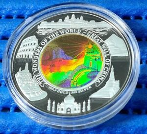2003 Cambodia 10,000 Riels Great Wall of China Hologram Gold & Silver Proof Coin