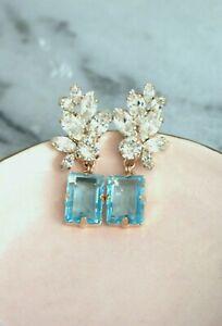 5.75Ct Emerald Cut Blue Topaz Diamond  Drop/Dangle Earrings 14K Rose Gold Plated
