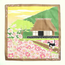 Cosmos With Cat Japanese Cotton Furoshiki Wrapping Cloth TB72