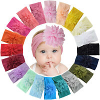"20pcs 4"" Chiffon Flower Soft Nylon Headbands for Baby Girls Infants Toddlers Kid"