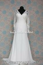 1528 White Ivory wedding dress vintage lace wedding dress with long sleeves new