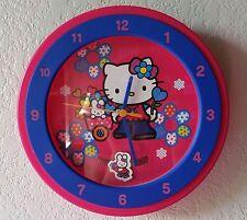"Rare Hello Kitty Bunny Wall Pendulum Clock Blue Pink Bedroom Decor 2003 10"""