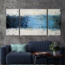 Wall Art Set Large Gallery Wrapped Canvas 3 Piece Hand Painted Modern Decor