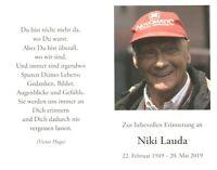 Niki Lauda - Sterbebild in Deutsch Formel 1  TOP RAR NEU 5252 UH