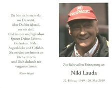 Niki Lauda - Sterbebild in Deutsch Formel 1  TOP RAR NEU 10021 UH