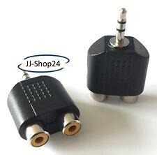 Audio Adapter Klinke Stecker 3,5mm auf 2x Cinch Buchse Stereo schwarz NEU