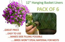 12 inch Hanging Basket Liners (6 Pack) - Easy to use Liner - Just Cut to Size