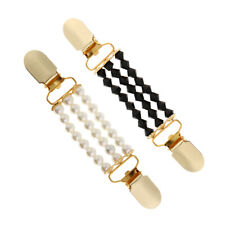 2x Pearl Cardigan Duck Clips Clasp Shawl Blouse Sweater Shirt Collar Holders