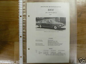 B7-BMW TYPEN 2500, 2800 EN 2800 CS 1969-TECHNICAL INFO
