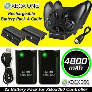 4800mAh Rechargeable 2 Battery Pack USB Charger Cable For XBox 360 Controller
