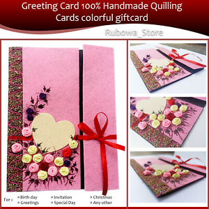 Greeting Card 100% Handmade Quilling Birthday Card colorful gift card for anyone
