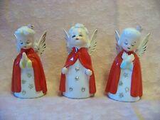 Set 3 Vintage Christmas Angel Figurines w/Rhinestones,Fine A Quality Japan,1 Dmg