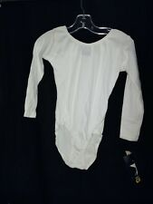 Girls Capezio large white long-sleeved leotard skate dance Nwt