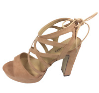 Womens Ladies Mocha Faux Suede High Heel Strappy Sandals Shoes Size UK 7 New