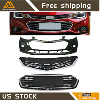 New Front Bumper Upper Lower Grille & Front Bumper Cover For 16-18 Chevy Cruze